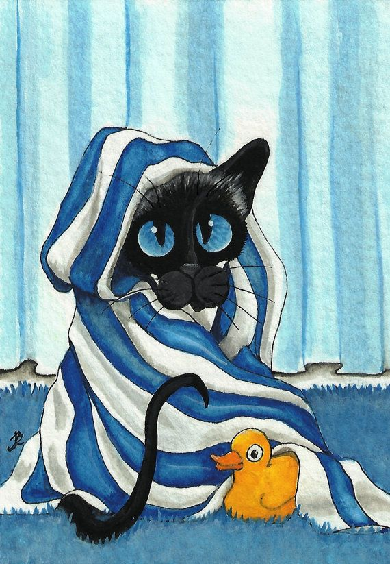 Siamese Cat Bath Towel Rubber Duck 85 x 11 Print by AmyLynBihrle, $16.99