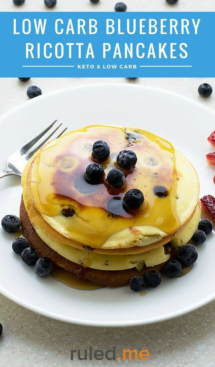 A delicious low carb blueberry ricotta pancakes recipes. A nice change from having eggs for breakfast. #ketodiet #ketorecipes #ketogenicdiet