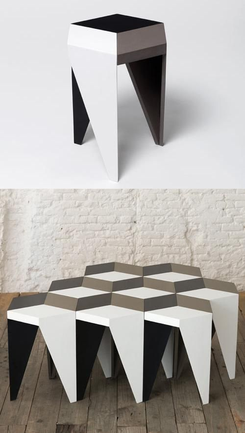 The Rayuela stool by Alvaro Catalán de Ocón design studio in Madrid, Spain. The stool can be combined with others like it to create Escher-esque patterns for your sitting pleasure.