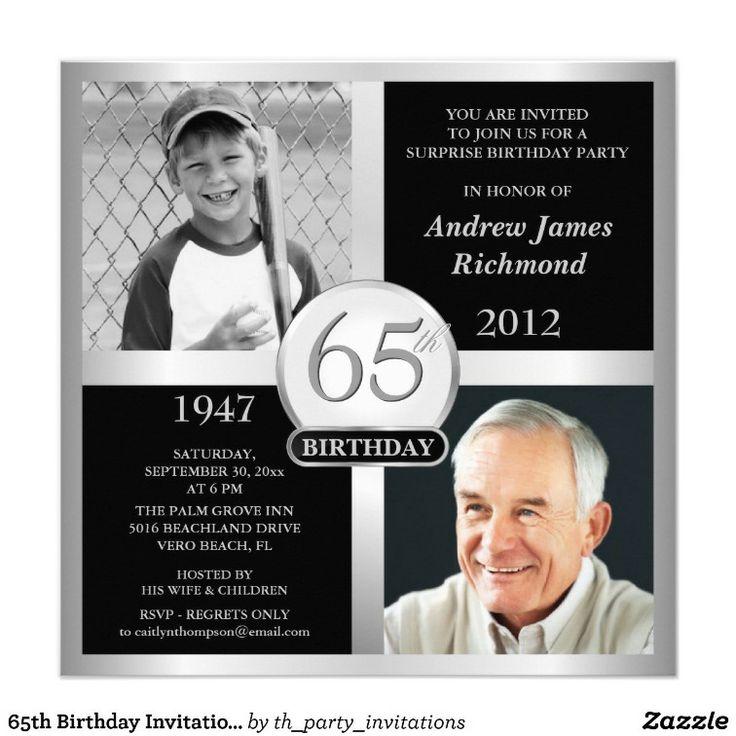 65th Birthday Invitations Then & Now Photos