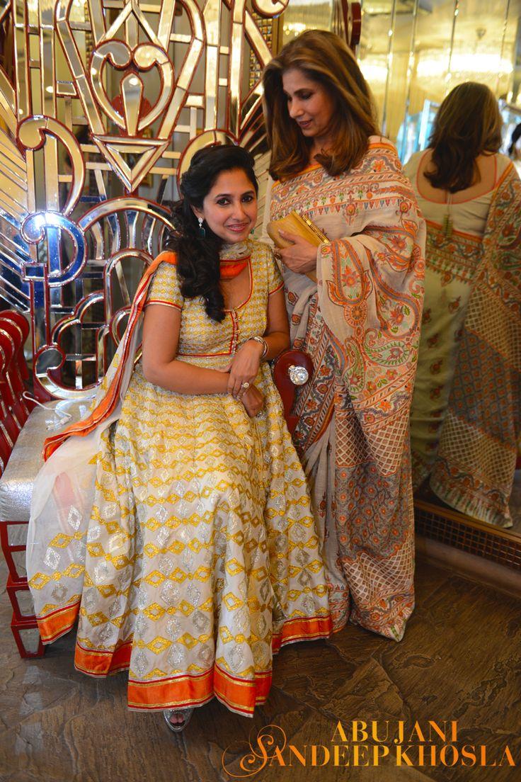 The ever stunning Dimple Kapadia and daughter Rinke Khanna Saran wearing Abu Jani Sandeep Khosla for India Bridal Fashion Week.