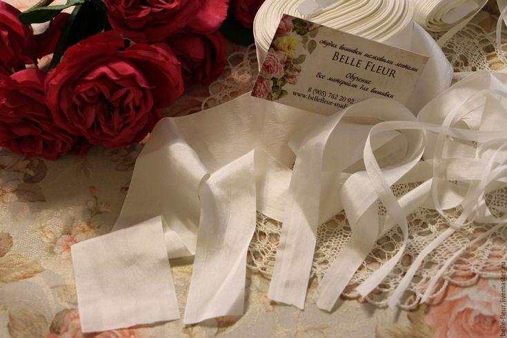"""Купить Набор шелковых лент """"Творческий"""" - белый, шелкове ленты, для украшений, Вышивка лентами"""