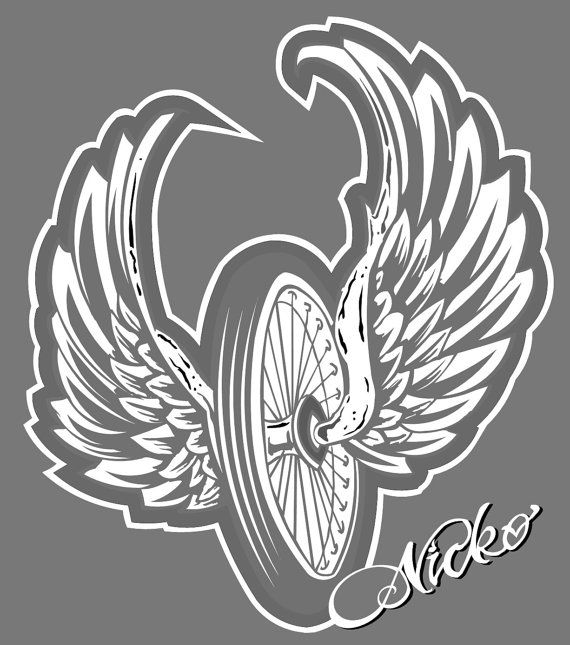 Biker Winged Flying Tire Tattoo Style Decal by NickoDesigns
