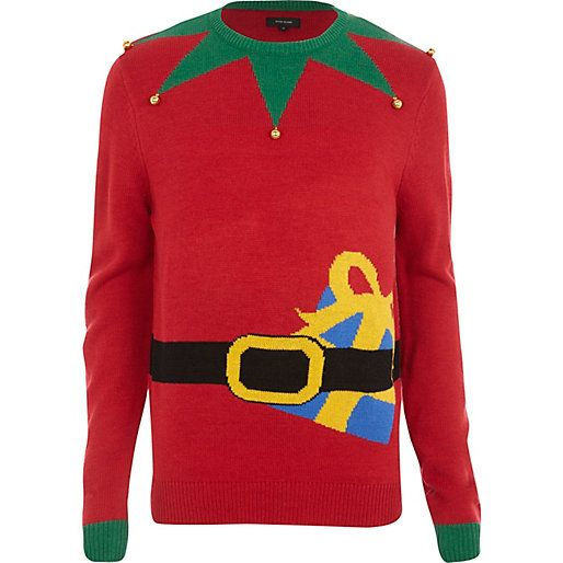 Red elf Christmas sweater