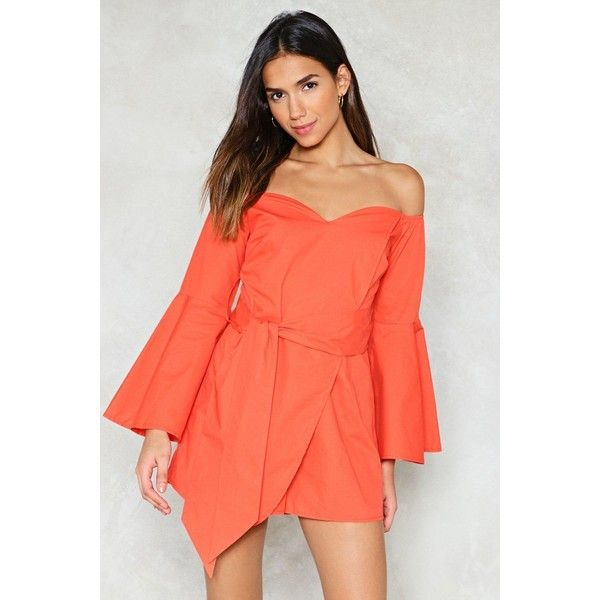 Nasty Gal Babe I'm Gonna Sleeve You Wrap Romper ($60) ❤ liked on Polyvore featuring jumpsuits, rompers, coral, long-sleeve romper, playsuit romper, red romper, zipper romper and off shoulder romper