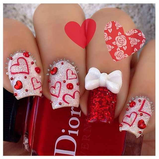 Red and Glitter Heart Nails with Bow for Valentines Day - Best 25+ Valentine Nails Ideas On Pinterest Valentine Nail