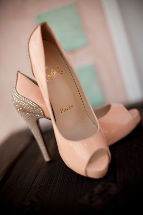 Christian Louboutin ~ Blush Patent Leather Peep Toe Pumps w Pearl studded heels