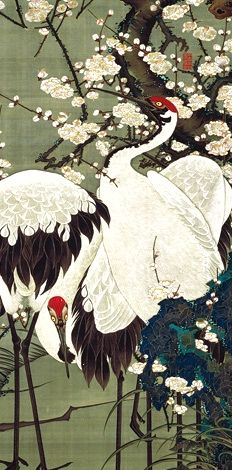 detail. Itō Jakuchū. Plum Blossoms and Cranes from the Colorful Realm of Living Beings series of thirty Japanese hanging scrolls. circa 1761–1765