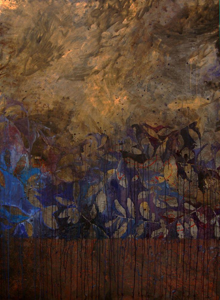 """by Jean Jacques Pigeon """"Effeuillage dans le noir et l'or"""" painting 2008 (230×170)"""