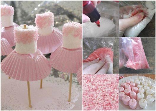 Cake pops bailarinas con azucar teñido y malvaviscos