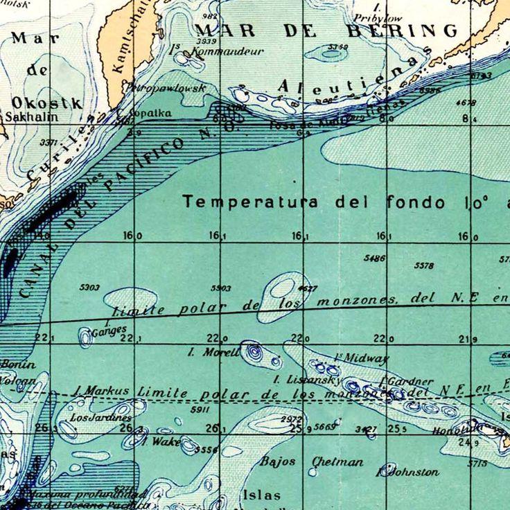 Mapa London%0A Pacific Ocean Vintage Map Sea Depths     s Pacific Basin