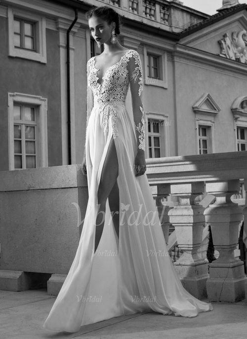 Robes de mariée - $162.31 - Forme Princesse Col V Traîne Balayage/Pinceau Mousseline de soie Tulle Robe de mariée avec Motifs appliqués Dentelle Fendue devant (0025092363)