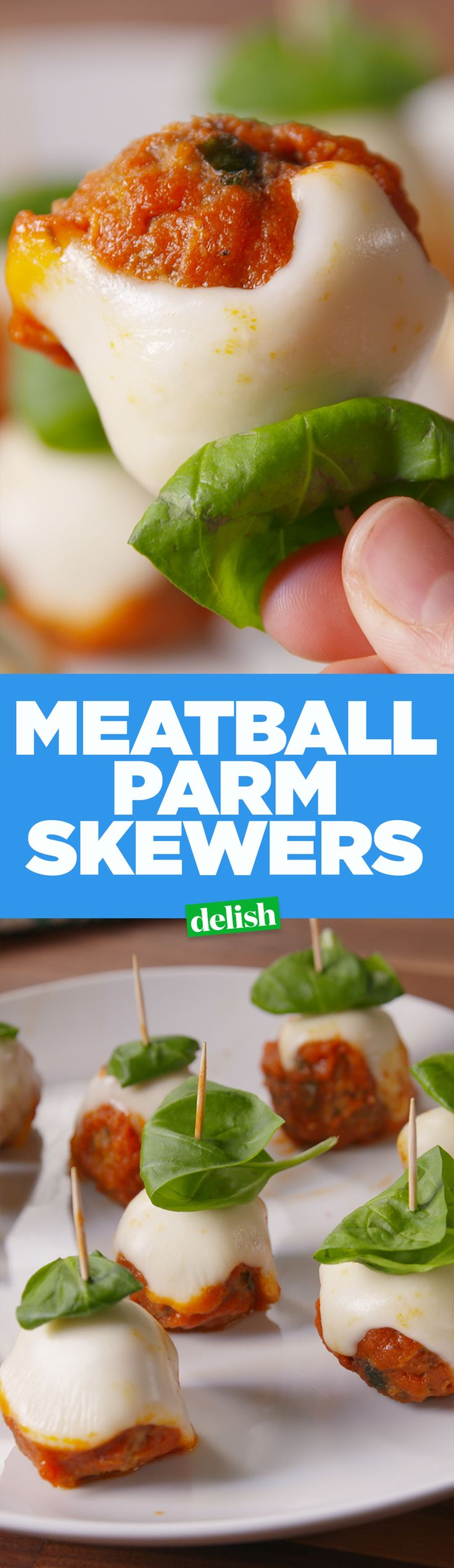 Meatball Parm Skewers give you less carbs and all the satisfaction. Get the recipe on Delish.com.