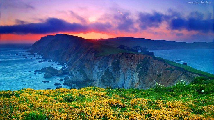 Góry, Morze, Łąka, Zachód, Słońca, Wybrzeże