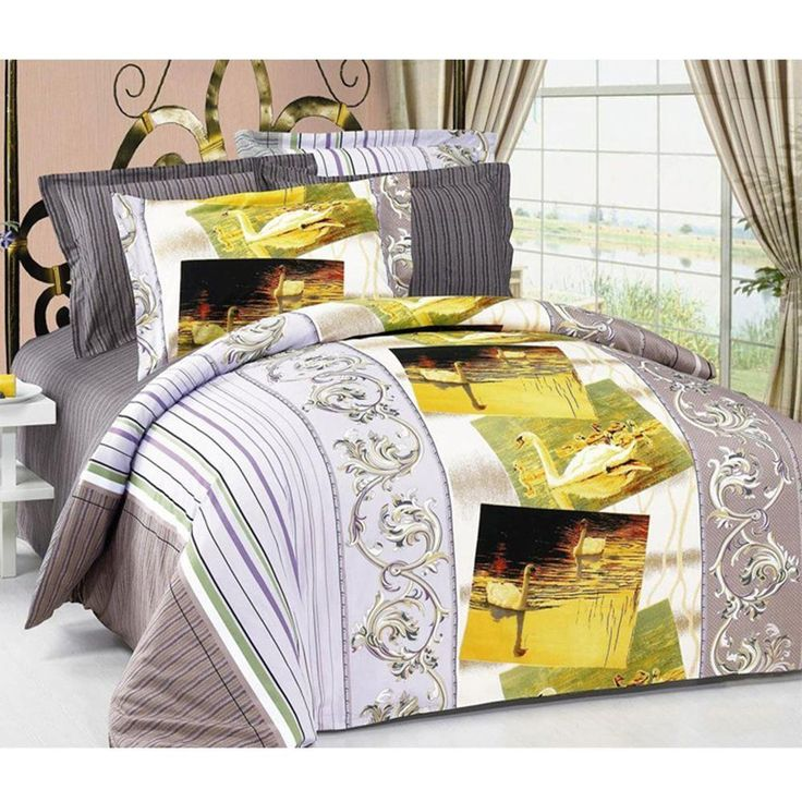 Full/Queen Size Duvet Cover Sheets Set, Swan by Arya