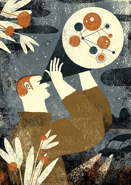 Astrónomo by malota, illustration, design, texture, print, colour, science, editorial, modern, printmaking, lino, screen