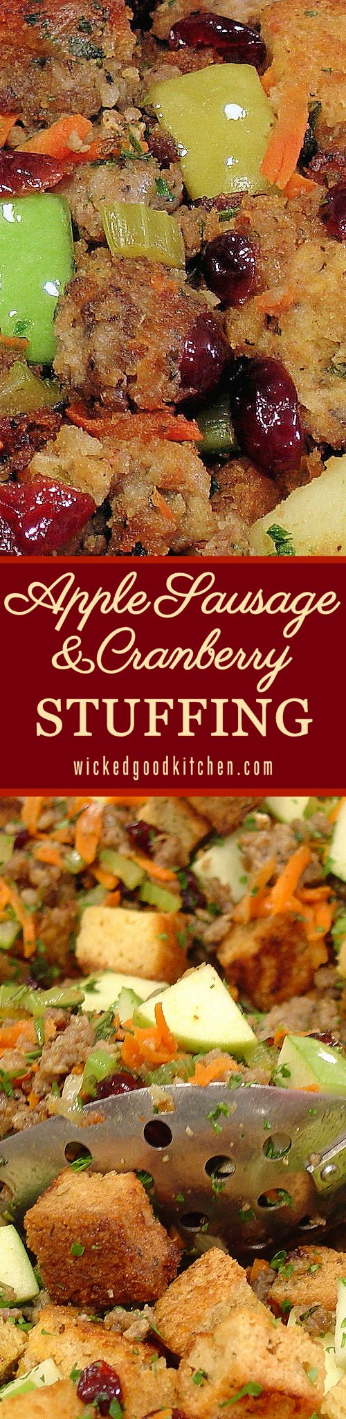Apple Sausage and Cranberry Stuffing ~ Fresh, savory, tart, sweet and festive, the perfect stuffing for #Thanksgiving or #Christmas #Holidays! Featured at the Allrecipes.com site with a 5-star rating and over 2,000 reviews. It will rock your ever-loving turkey stuffing world! | diy gluten free option recipe