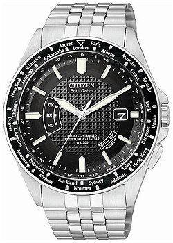 Citizen Men S Eco Drive Watch With Black Dial Ogue Display Andstainless Steel Bracelet