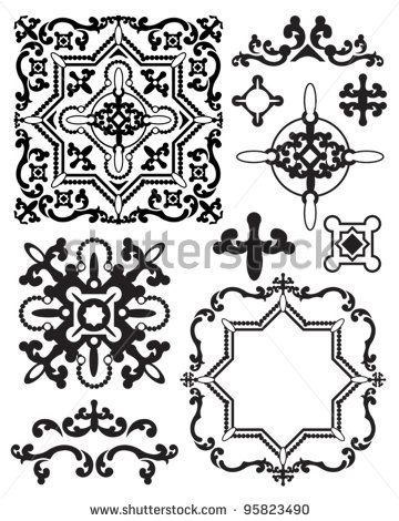 Free Moroccan Stencil Designs | Moroccan Stencil Design Elements. Use to create your own backgrounds ...