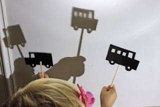 "Shadow Puppets  All you need is:   Black card stock or paper  Scissors, X-acto knife, hole punch  Chop sticks, doll rods or popsicle sticks  Pencil  glue or tape  Packing tape or laminating machine (optional)  Silhouette images (templates are provided for ""transportation"" themed puppets)"