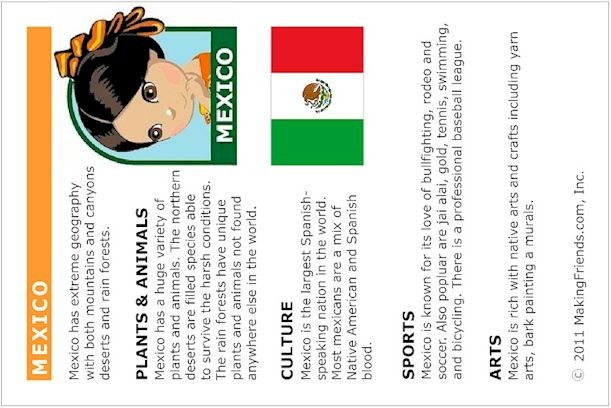 MEXICO FACT CARD: Great for creating interest in learning more about Mexico