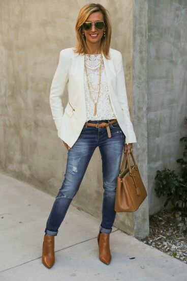 Winter white blazer and camel ankle boots with jeans