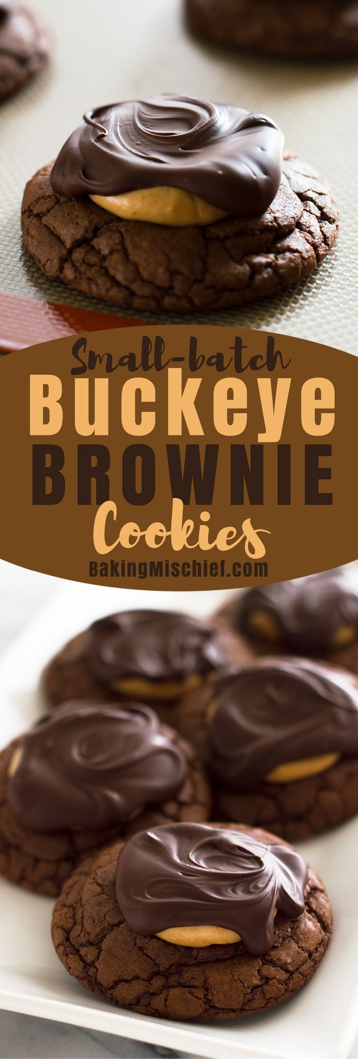 This recipe for six rich and amazing Buckeye Brownie Cookies starts with a fudgy chocolate cookie base, gets a sweet peanut butter center, and is topped with melted chocolate. From http://BakingMischief.com