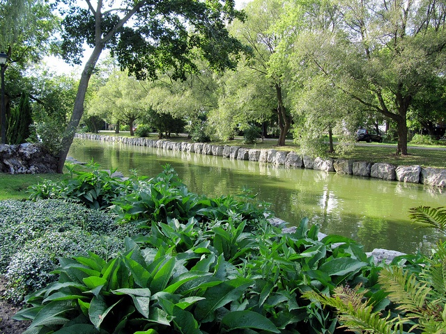Beautiful Avon River at Shakespearean Gardens, Stratford, Ontario, Canada