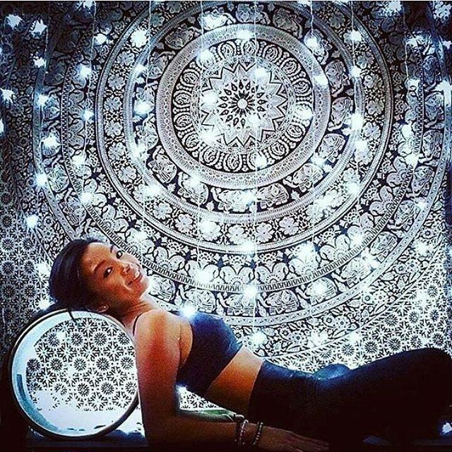 Boho Urban Mandala Tapestry Black & White Elephant Wall Hanging