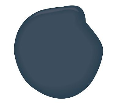 Dining room idea- This would look really sophisticated as an accent wall in the living room, especially with the dark brown, light gray and white. Hail Navy - Benjamin Moore AURA - Accent wall.