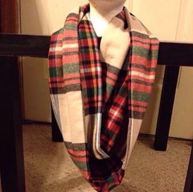 Women's Flannel-Plaid-Infinify Scarf-Christmas-Scarf-Striped Infinity Scarf-Winter Scarf-Fall Scarf-Holiday-Handmade Scarf by ShopNicoleRay on Etsy https://www.etsy.com/listing/471898667/womens-flannel-plaid-infinify-scarf