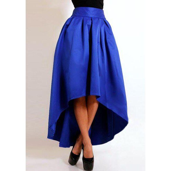 Stylish High-Waisted Pure Color Asymmetrical Ruffled Women's Skirt