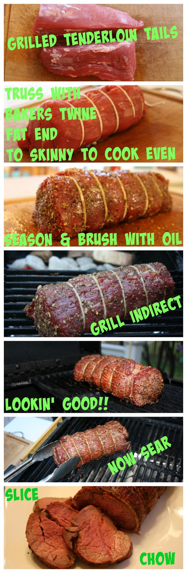 An explanation of what tenderloin tails are and how to grill them. | Grilled Beef Tenderloin Tails | https://grillinfools.com