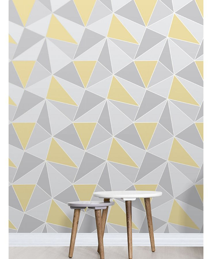 This Apex Geometric Wallpaper in tones of yellow and grey features a contemporary geometric pattern with a metallic outline. Free UK delivery available