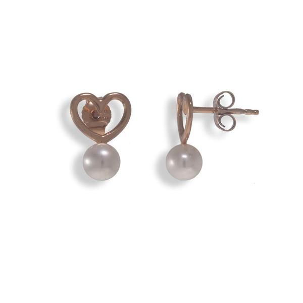 Handmade Rose Gold Plated Silver Stud Heart Earrings With A Pearl - Anthos Crafts - 1