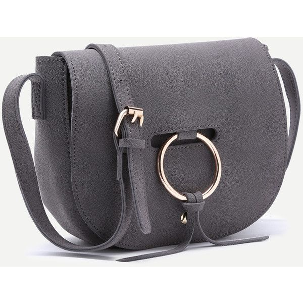 SheIn(sheinside) Grey Nubuck Leather Metal Ring Flap Saddle Bag ($20) ❤ liked on Polyvore featuring bags, handbags, shoulder bags, gray purse, gray shoulder bag, flap handbags, grey shoulder bag and flap purse