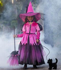 pretty pink witch costume - now here's a switch -- a pretty pink witch! you'll stand out among the wicked ones in this lavish costume. your dress features pink sparkle velour, black sequin trim, and a layered skirt of netting and tulle. hats don't get more amazing than this matching creation.