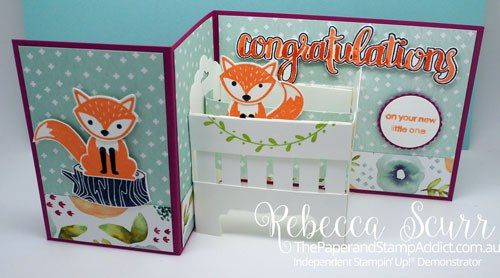 Amazing Congratulations, Foxy Friends, Fox Punch, Scallop circle punch - Addinktive Designs Team Member, Rebecca Scurr - Independent Stampin' Up! demonstrator - www.facebook.com/thepaperandstampaddict