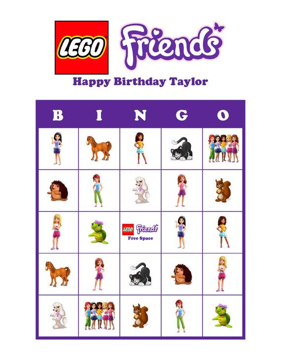 Lego Friends Personalized Bingo Cards Game Delivered by Email