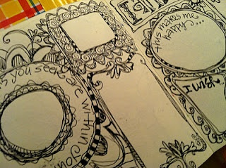 Draw decorated blocks all over a page to journal small pieces.
