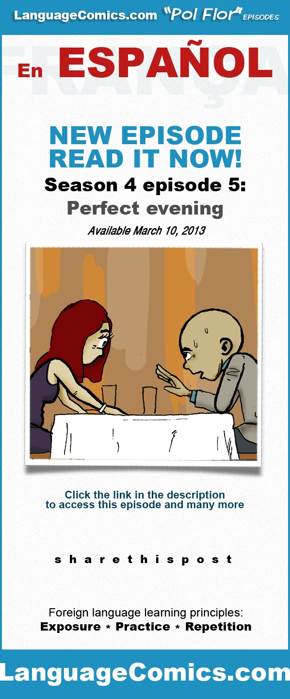 Practice your #Spanish with this episode and many more at www.LanguageComics.com . Repin then click the image to go to the story. Access to this episode requires a $9.00 monthly membership. Enjoy.  http://www.languagecomics.com/noche-perfecta/
