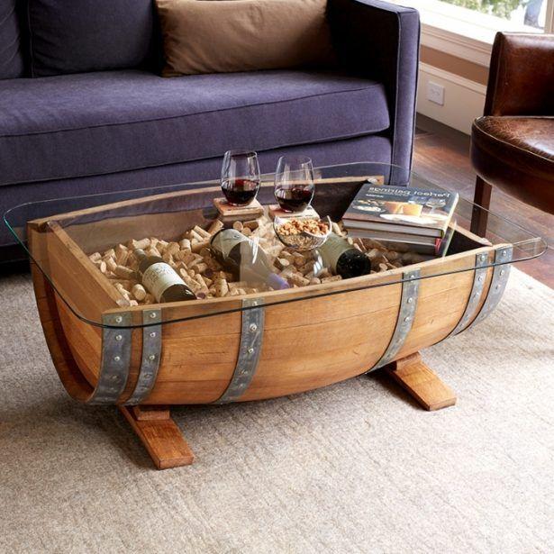 wooden barrel coffee table designs