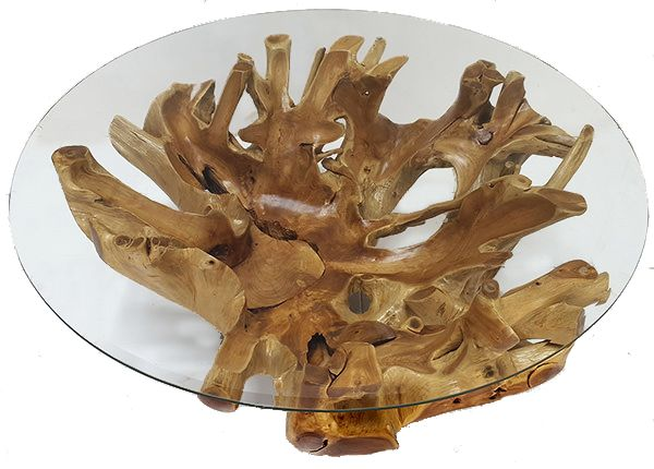 "Round Teak Root Coffee Table with 3/8"" beveled glass top. The Teak Root is carved and polished to maximise the exposed wood grain. #teak #coffee #table #modern #vintage #natural #root"