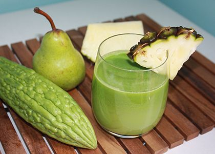 Bitter Melon Juice for Weight Loss  ½ – 1 small bitter melon ¼ pineapple 1 pear 2 celery sticks 1 lemon
