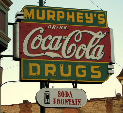 Vintage Coca~Cola sign for Murphey's Drugs Soda Fountain. ~ I used to work at a drug store with a soda fountain in Gresham Oregon!