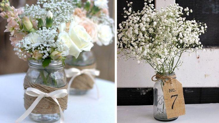 centre de table bocal fleurs champetres                                                                                                                                                                                 Plus