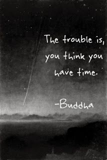 "The trouble is, you think you have time.  -Buddha (I know, I know, it is quoted as Buddha's wisdom, but in actuality it is a paraphrase from Jack Kornfield's ""Buddha's Little Instruction Book"".  The concept is still great :))"
