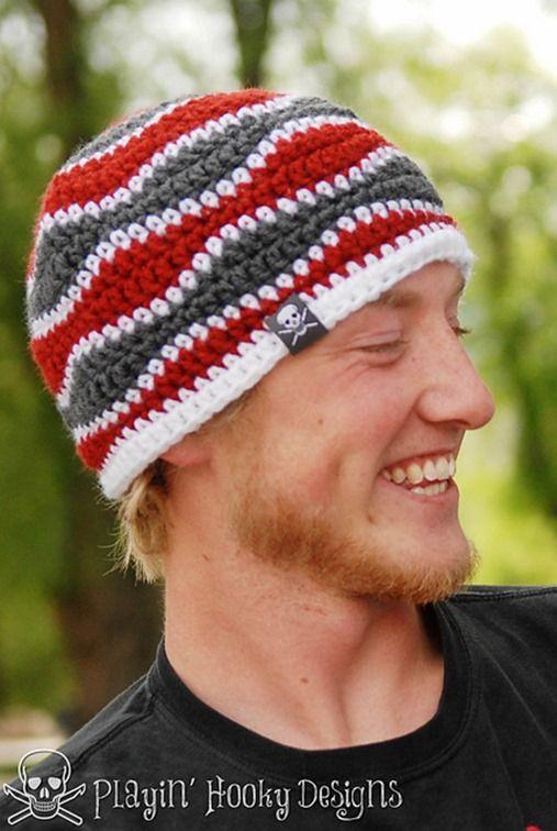 Winter hats for men :: FineCraftGuild.com :: mens beanie crochet pattern