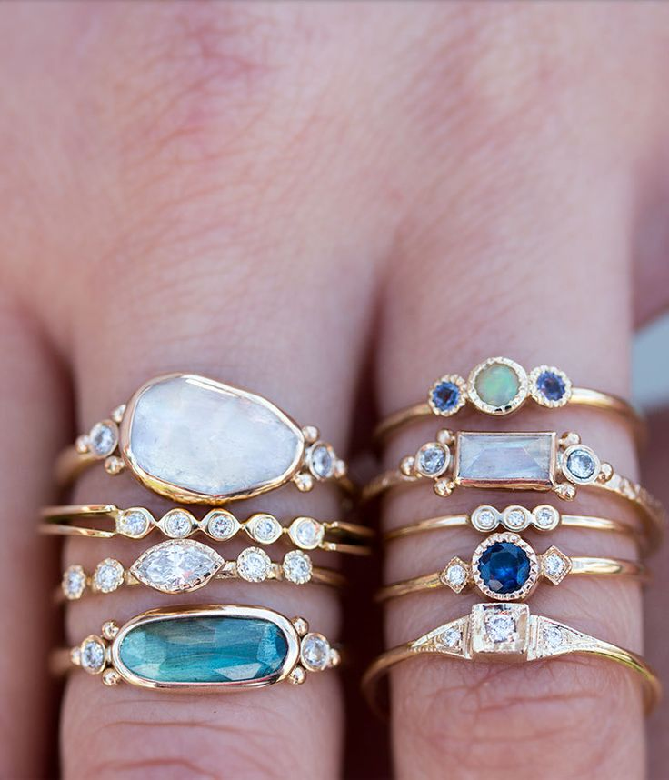 Moonstone Ring and Side Diamonds - Audry Rose