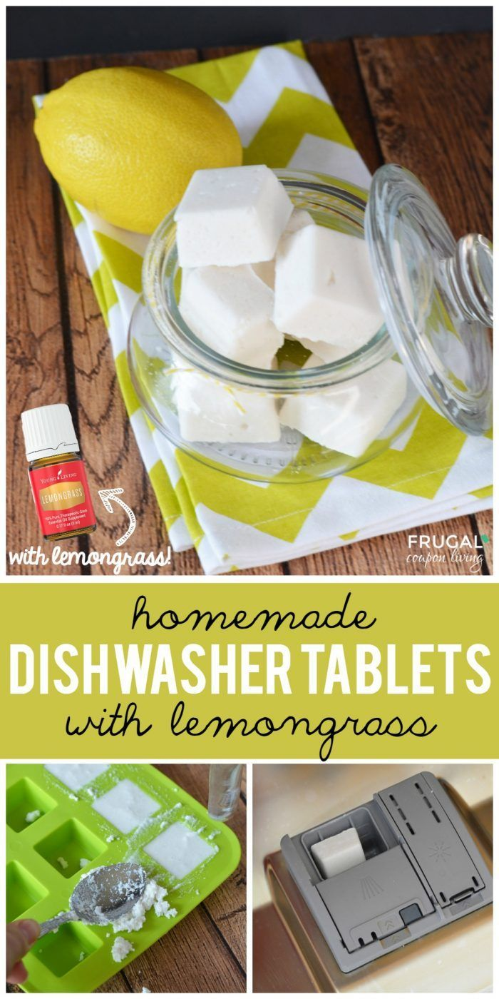 These homemade dishwasher tablets offer a hint of lemongrass. They are an easy recipe to add to your kitchen cleaning supplies. Homemade Dishwasher Tablets with Lemongrass on Frugal Coupon Living. Essential oil recipes and ideas.  Replace with lemon if desired.